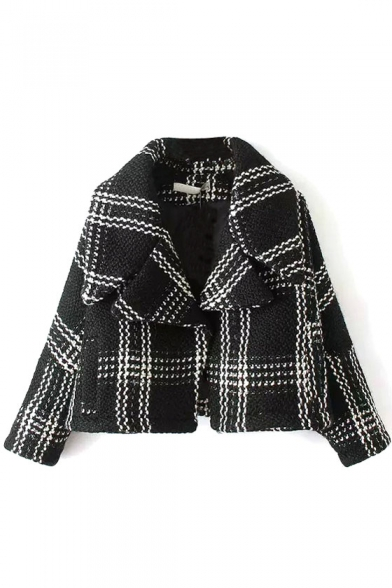 Cropped Single Button Plaid Tweed Long Sleeve Coat