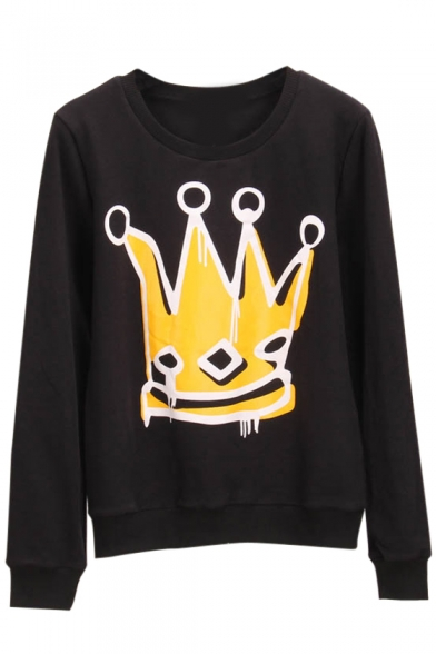 Crown Print Long Sleeve Round Neck Sweatshirt