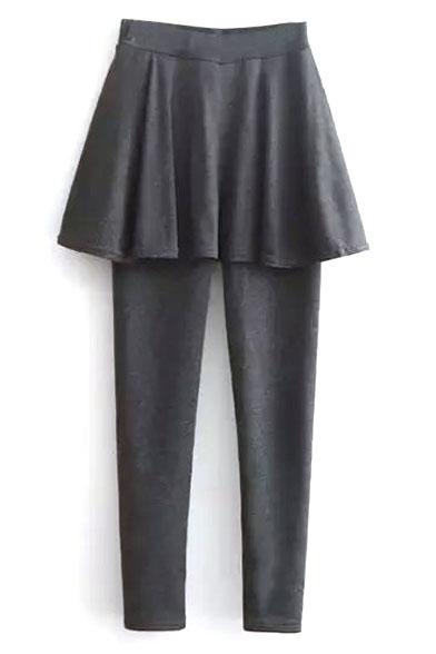 Elastic Waist Velvet Plus Plain A-Line Skirt Leggings