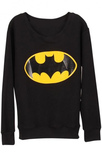 Mouth Print Round Neck Long Sleeve Sweatshirt