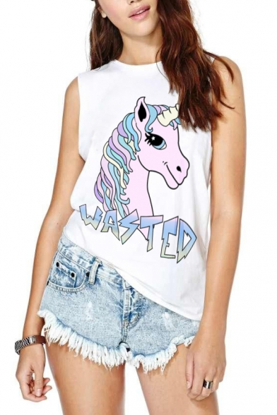 Unicorn Letter Print Sleeveless Tank
