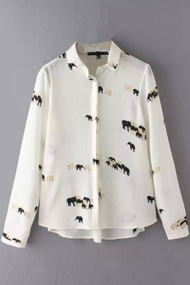 Button Down Long Sleeve Lapel Print Shirt
