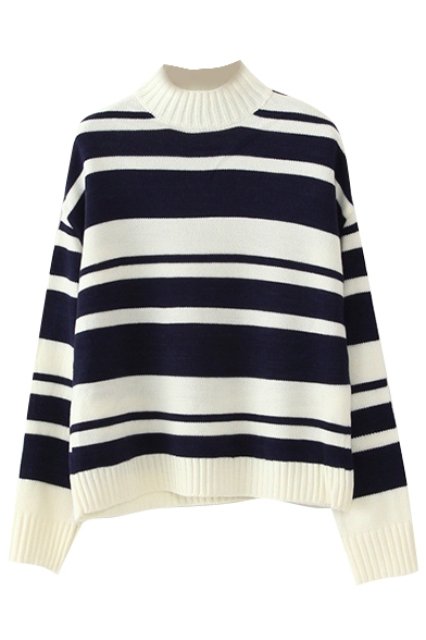 High Neck Long Sleeve Stripes Sweater
