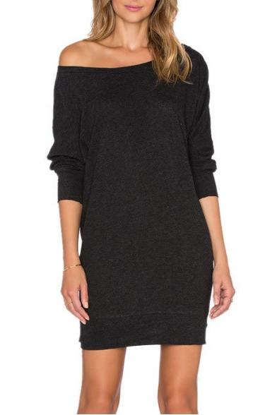 974a7a9a6dd9 One Shoulder Long Sleeve Mini Plain T-Shirt Dress - Beautifulhalo.com