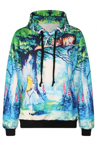 Sleeve Drawstring Long Sweatdshirt Green Print T1qUwnE