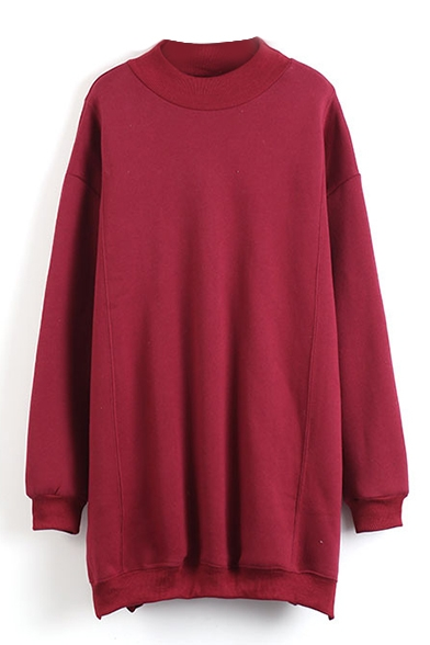 Round Neck Long Sleeve Plain Sweatshirt Dress