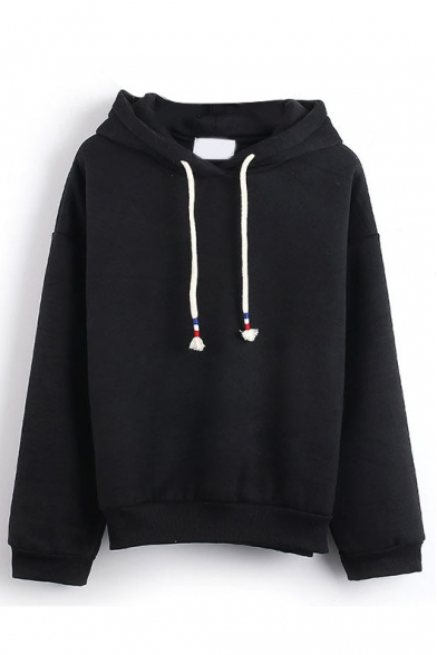 Hooded Plain Long Sleeve Pullover Sweatshirt