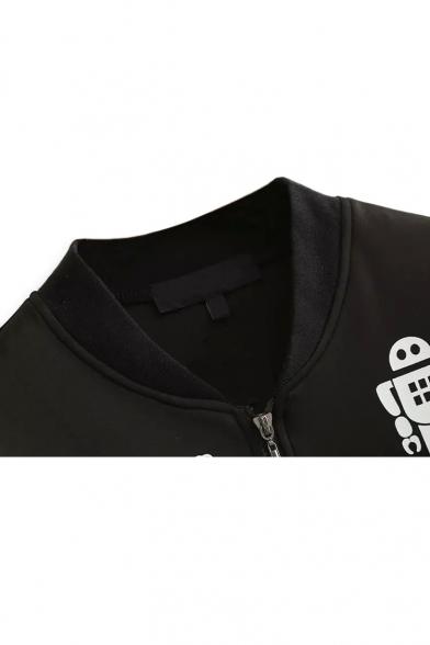 Long Sleeve Up Neck Baseball Stand Jacket Print Cartoon qSCBqna