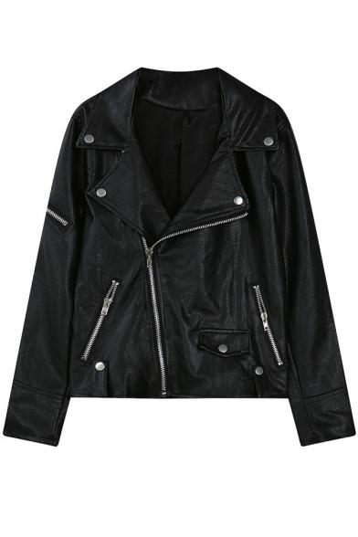 Notched Lapel Long Sleeve Black Zipper PU Jacket