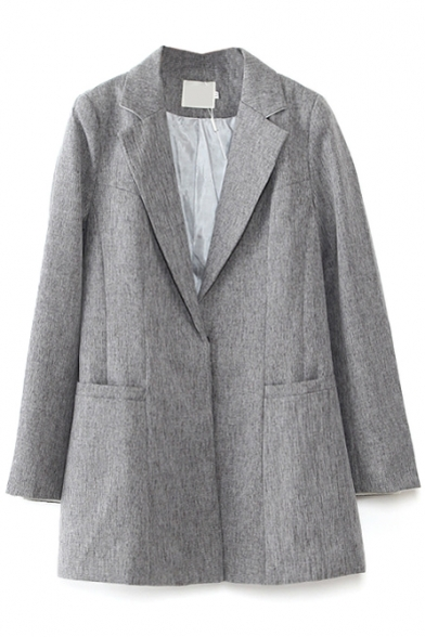 Notched Lapel Long Sleeve Single Button Long Sleeve Blazer