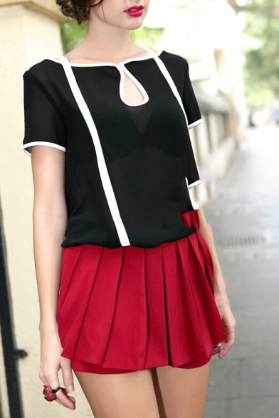 Boat Neck Short Sleeve Color Block Blouse