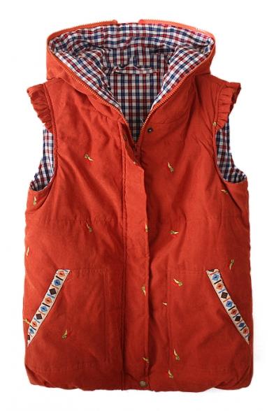 Embroidery Hooded Zipper Sleeveless Vest