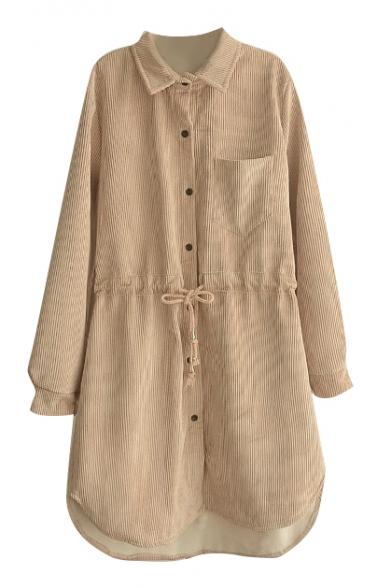 Lapel Long Sleeve Button Down Drawstring Waist Shirt Dress