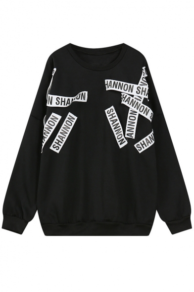 Letter Print Round Neck Long Sleeve Sweatshirt