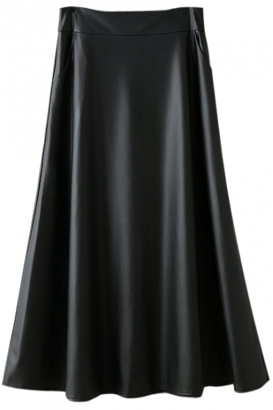 Maxi Plain PU Zip Back Skirt