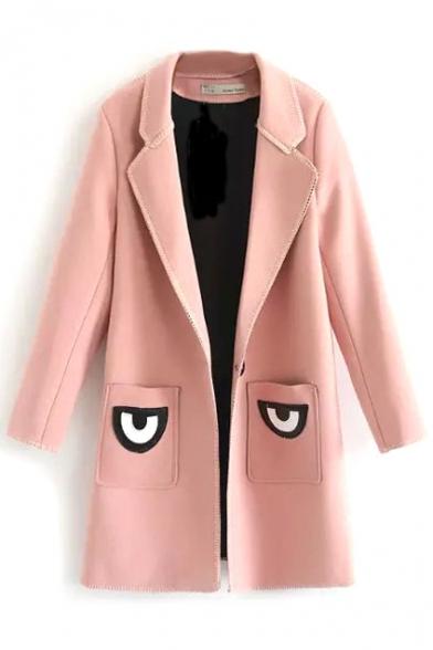 Notched Lapel Long Sleeve Eyes Patchwork Tweed Coat