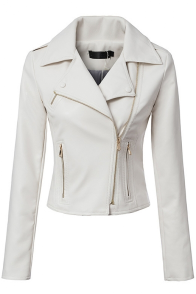 Notched Lapel Long Sleeve PU Zipper Biker Jacket