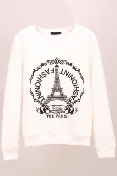 Print Round Neck Long Sleeve Round Neck Sweatshirt
