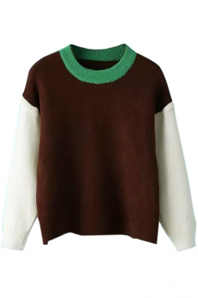 Round Neck Long Sleeve Color Block Patchwork Sweater