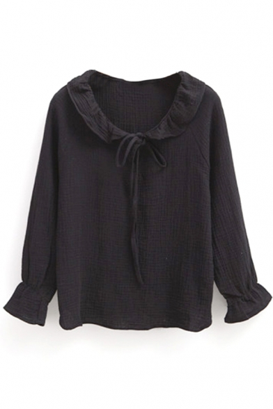 Ruffle Neck Tie Neck Long Sleeve Elastic Wrist Blouse