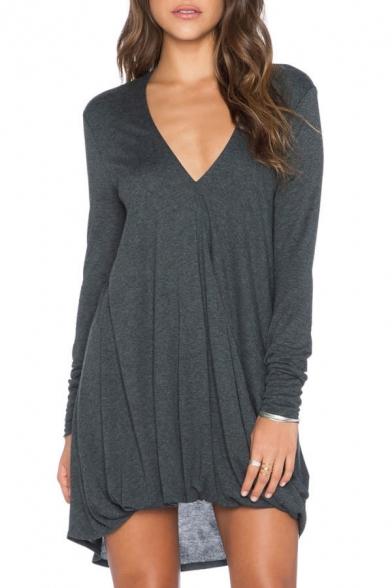3405cbeba71936 V-Neck Long Sleeve Gray T-Shirt Dress - Beautifulhalo.com