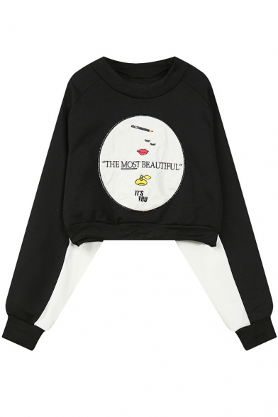 Embroidery Round Neck Long Sleeve Cropped Sweatshirt