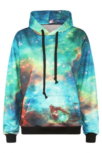Green Galaxy Print Long Sleeve Sweatshirt