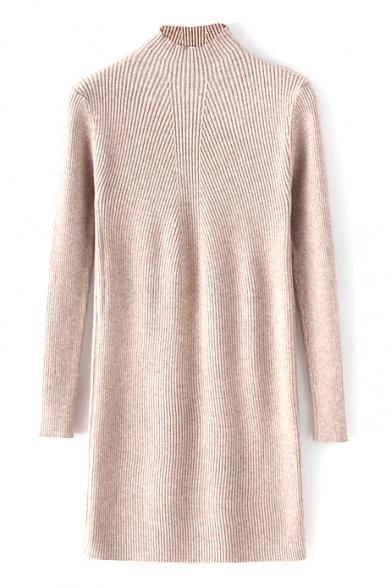 High Neck Long Sleeve Plain Midi Knit Dress
