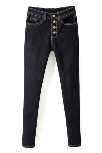 High Waist Plain Button Fly Velvet Plus Skinny Jeans