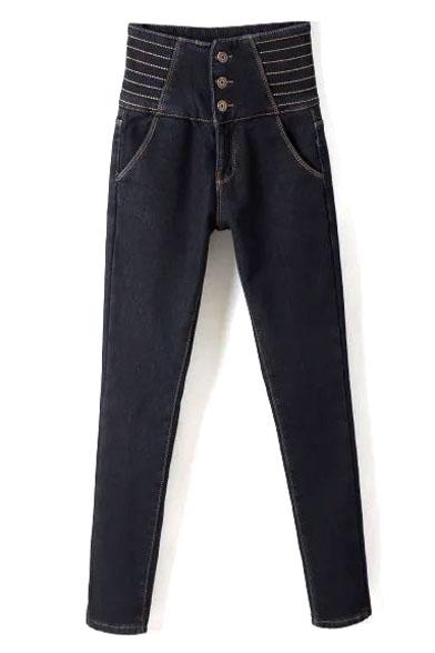 High Waist Three Buttons Plain Skinny Velvet Plus Jeans
