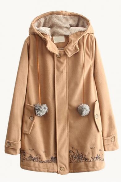 Hooded City Cartoon Embroidery Fur Ball Detail Long Tweed Coat