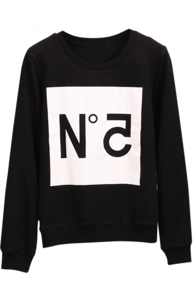 Round Letter Print Sweatshirt Sleeve Long Neck qwt8wP