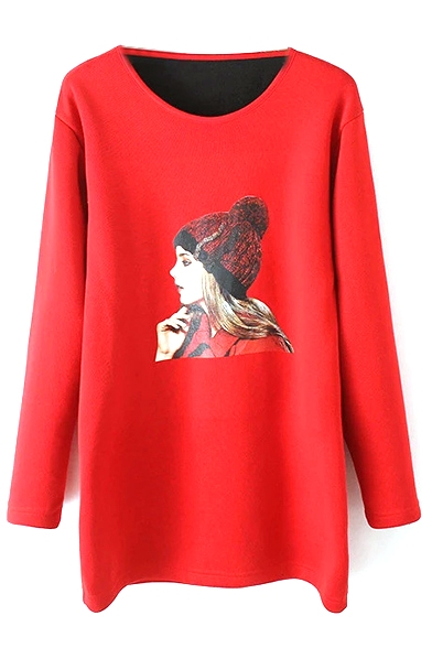 Round Neck Character Print Long Sleeve Knit Dress