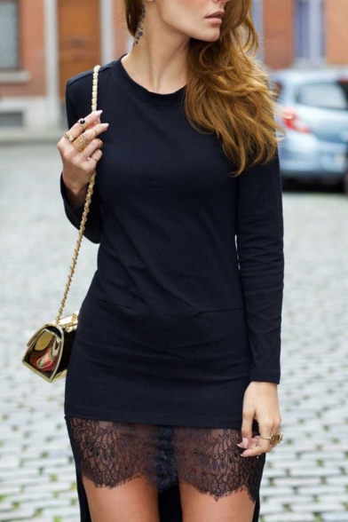 Round Neck Long Sleeve Lace Detail High Low Dress