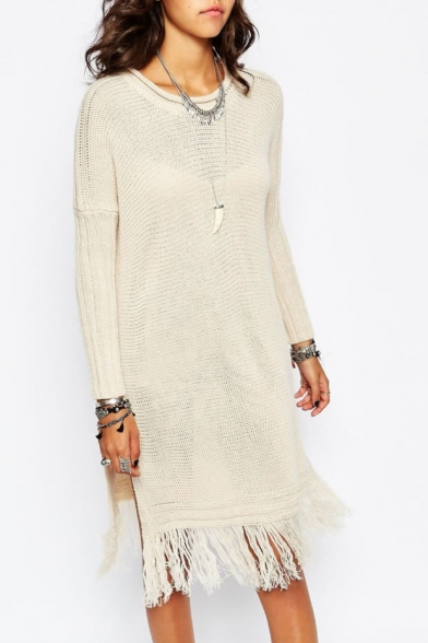 Round Neck Long Sleeve Tassel Knit Dress