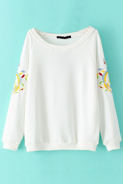 Scoop Neck Long Sleeve Embroidery Sweatshirt