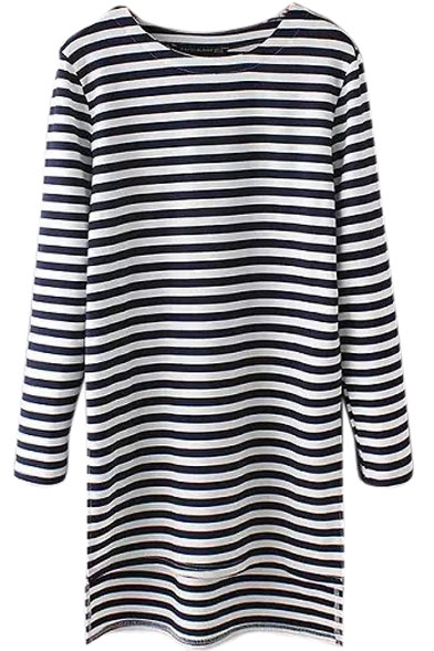 Stripes Round Neck Long Sleeve High Low T-Shirt Dress