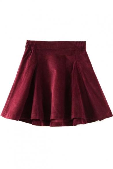 Zip Back Plain Skater Mini Skirt