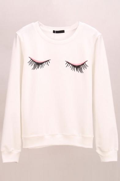 Eyes Print Long Sleeve Round Neck Sweatshirt