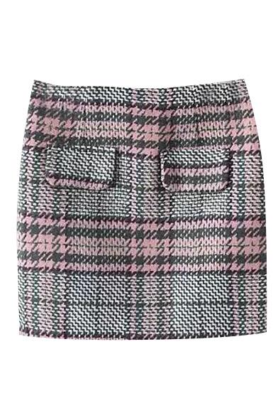 Plaid Houndstooth Print Faux Pockets Tweed Skirt