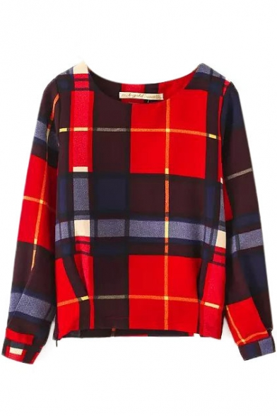 Round Plaid Sleeve Long Zipper Neck Detail Tee FqFzwf1