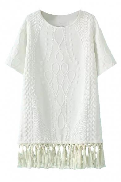 Round Neck Short Sleeve Plain Tassel Hem Dress