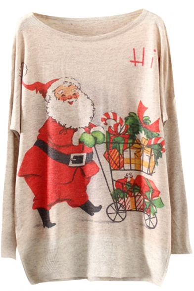 Christmas Santa Claus Print Scoop Neck Long Sleeve Sweater