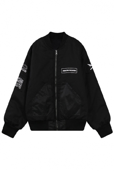 Zipper Long Sleeve Embroidery Black Jacket