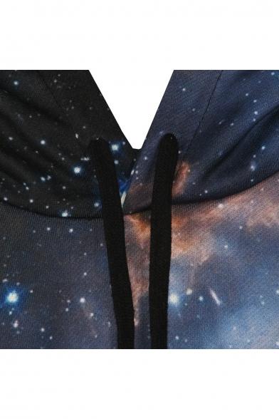 Galaxy Sleeve Long Sweatshirt Black Hooded EdYYq