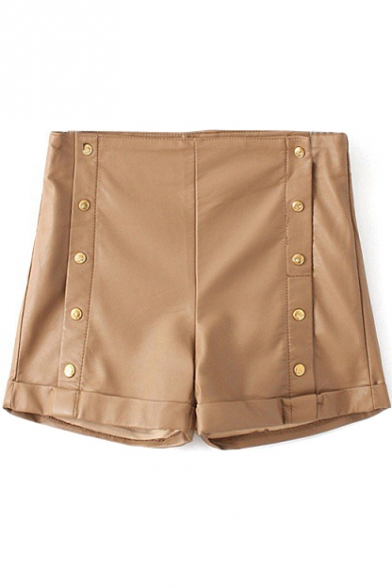 High Waist Button Fly Plain PU Hot Shorts