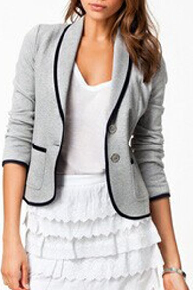 Lapel Single Breasted Short Color Block Hem Blazer