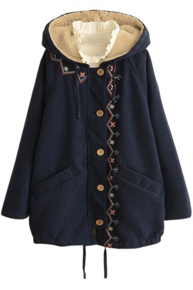 Long Sleeve Hooded Single Breasted Embroidery Coat