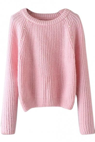 Plain Raglan Long Sleeve Beading Round Neck Sweater