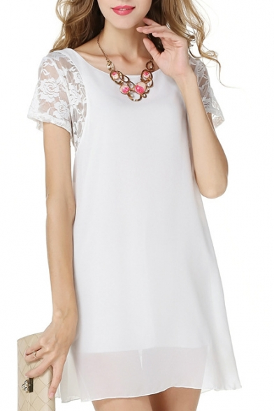 Scoop Neck Short Sleeve Lace Detail Chiffon Dress